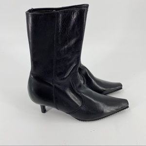 Zara black pointed toe boots small heel NWOT